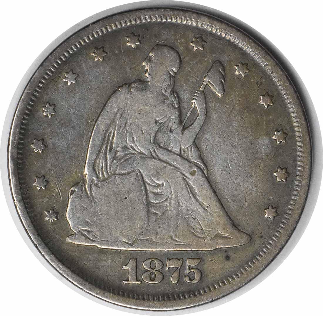 1875 Twenty Cent Silver Piece VG Uncertified #932