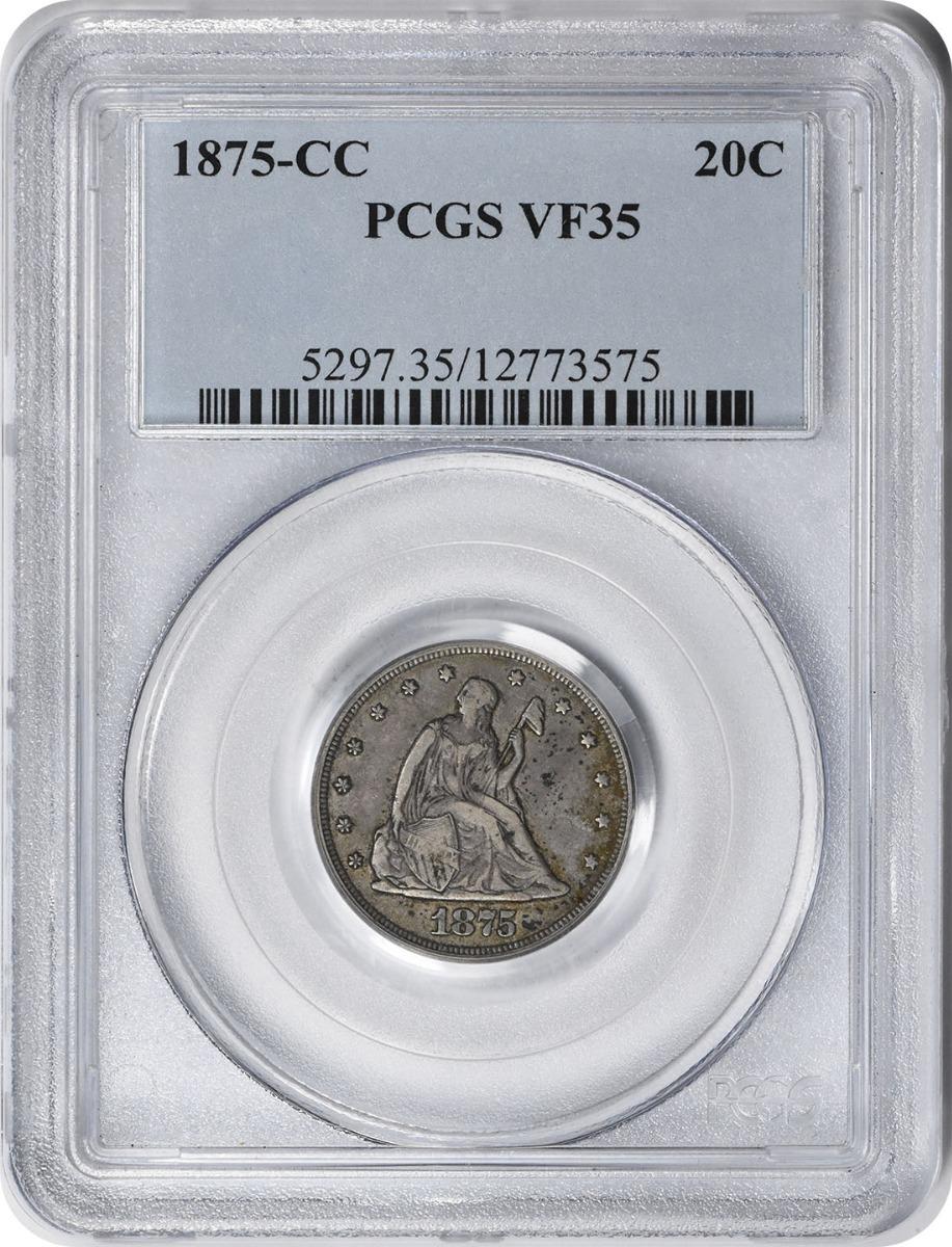 1875-CC Twenty Cent Silver Piece VF35 PCGS