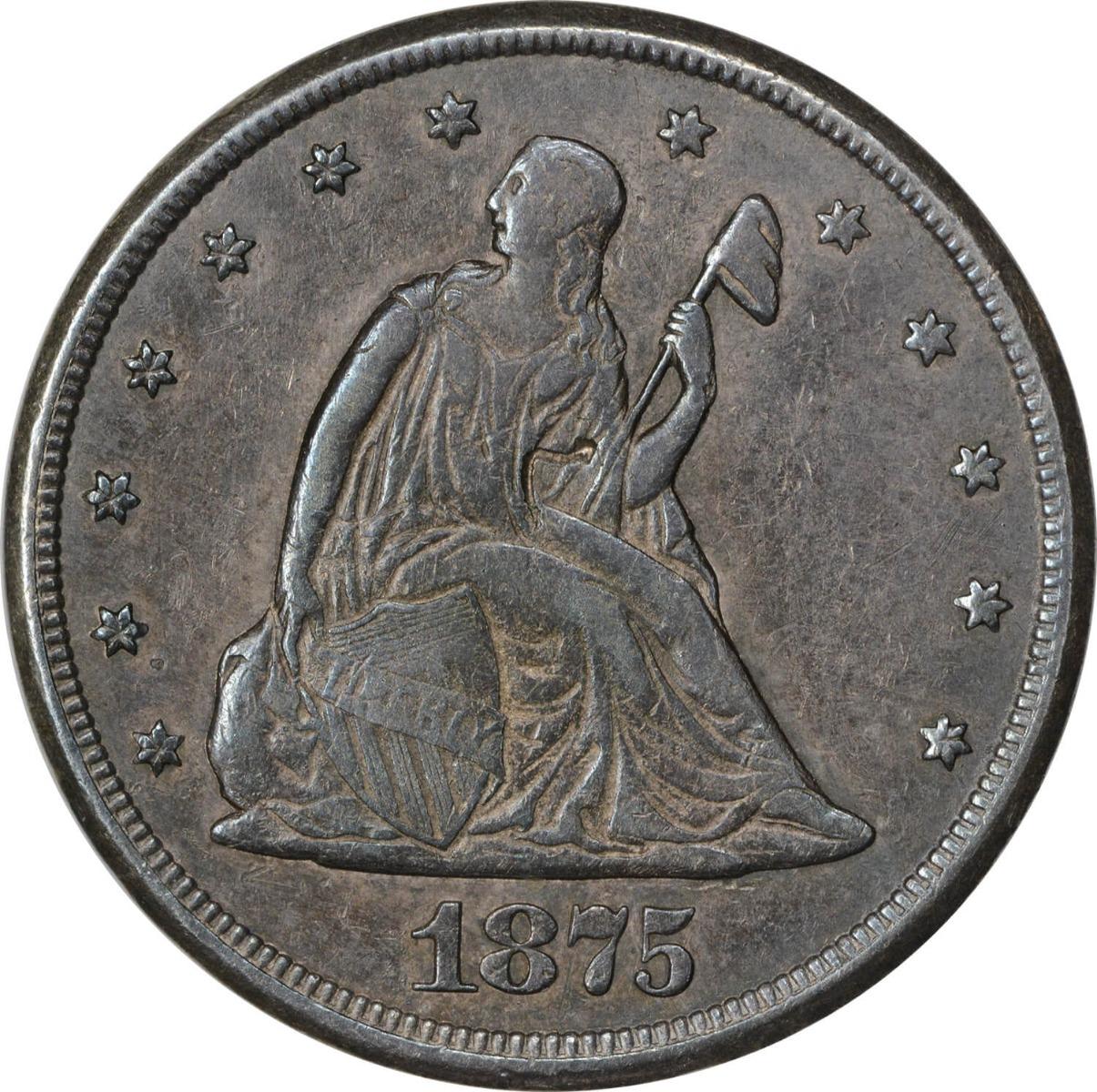 1875-CC Twenty Cent Silver Piece AU Uncertified