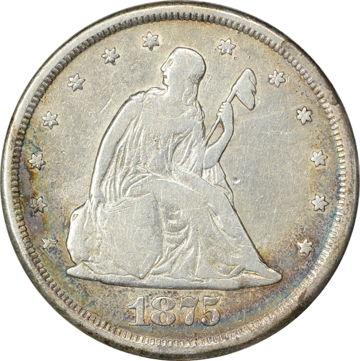 1875-CC Twenty Cent Silver Piece Choice VG Uncertified