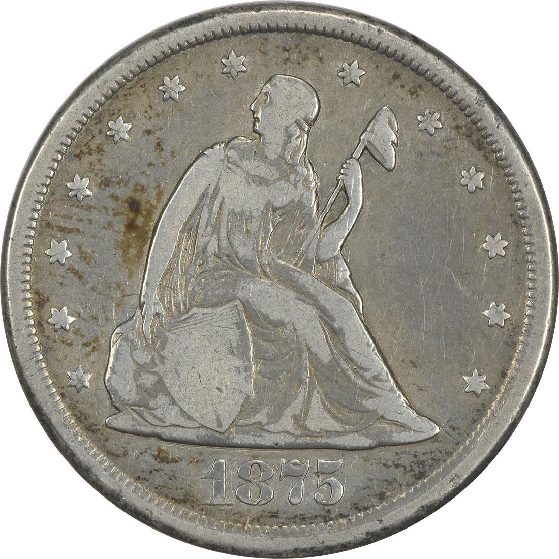 1875-CC Twenty Cent Silver Piece F Uncertified #154