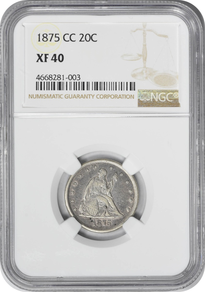 1875-CC Twenty Cent Piece, EF40, NGC