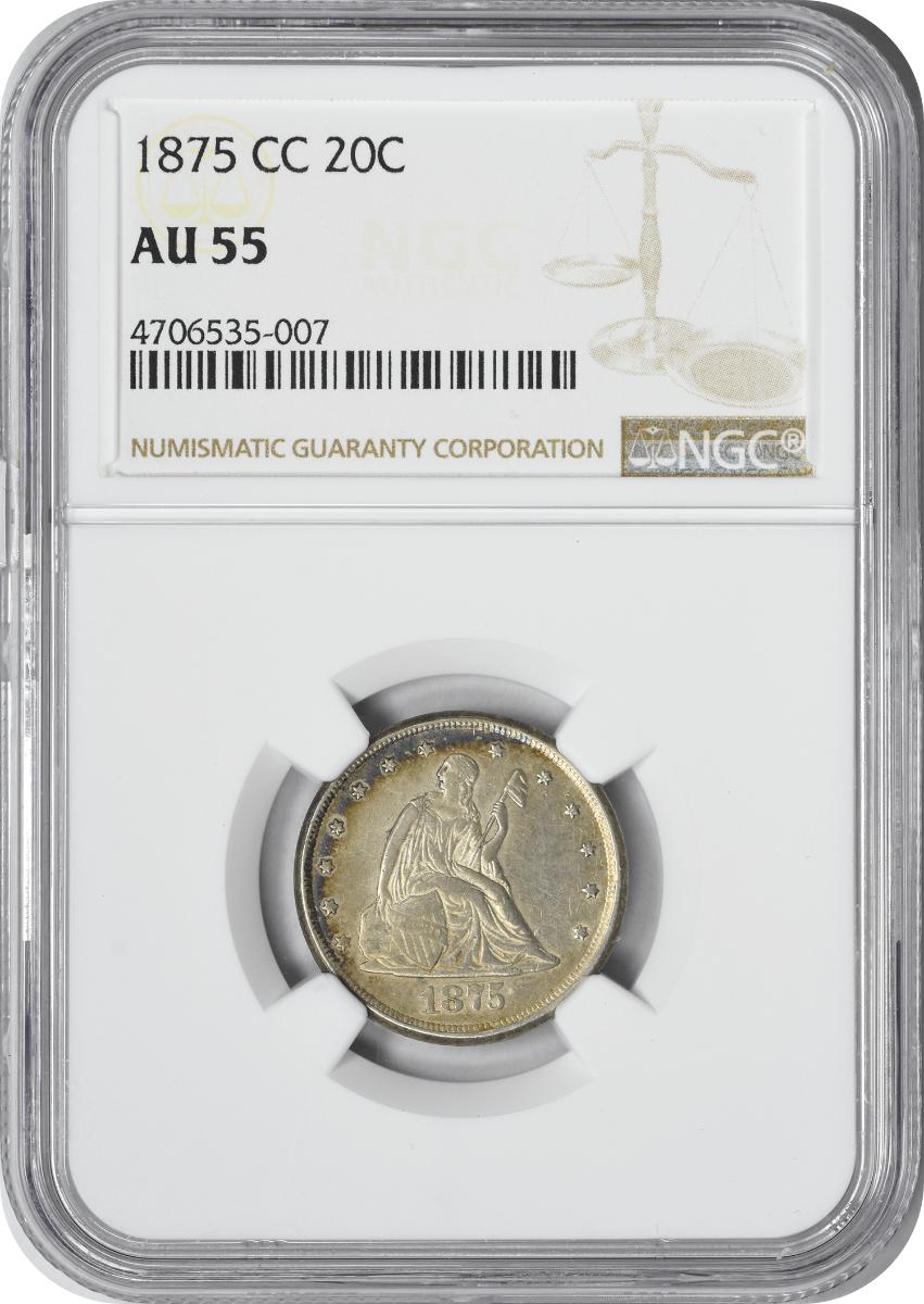 1875-CC Twenty Cent Piece, AU55, NGC