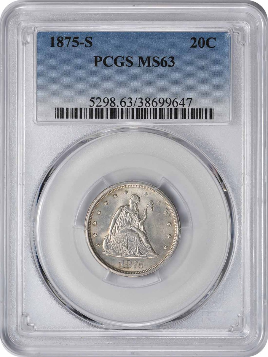 1875-S Twenty Cent Piece MS63 PCGS
