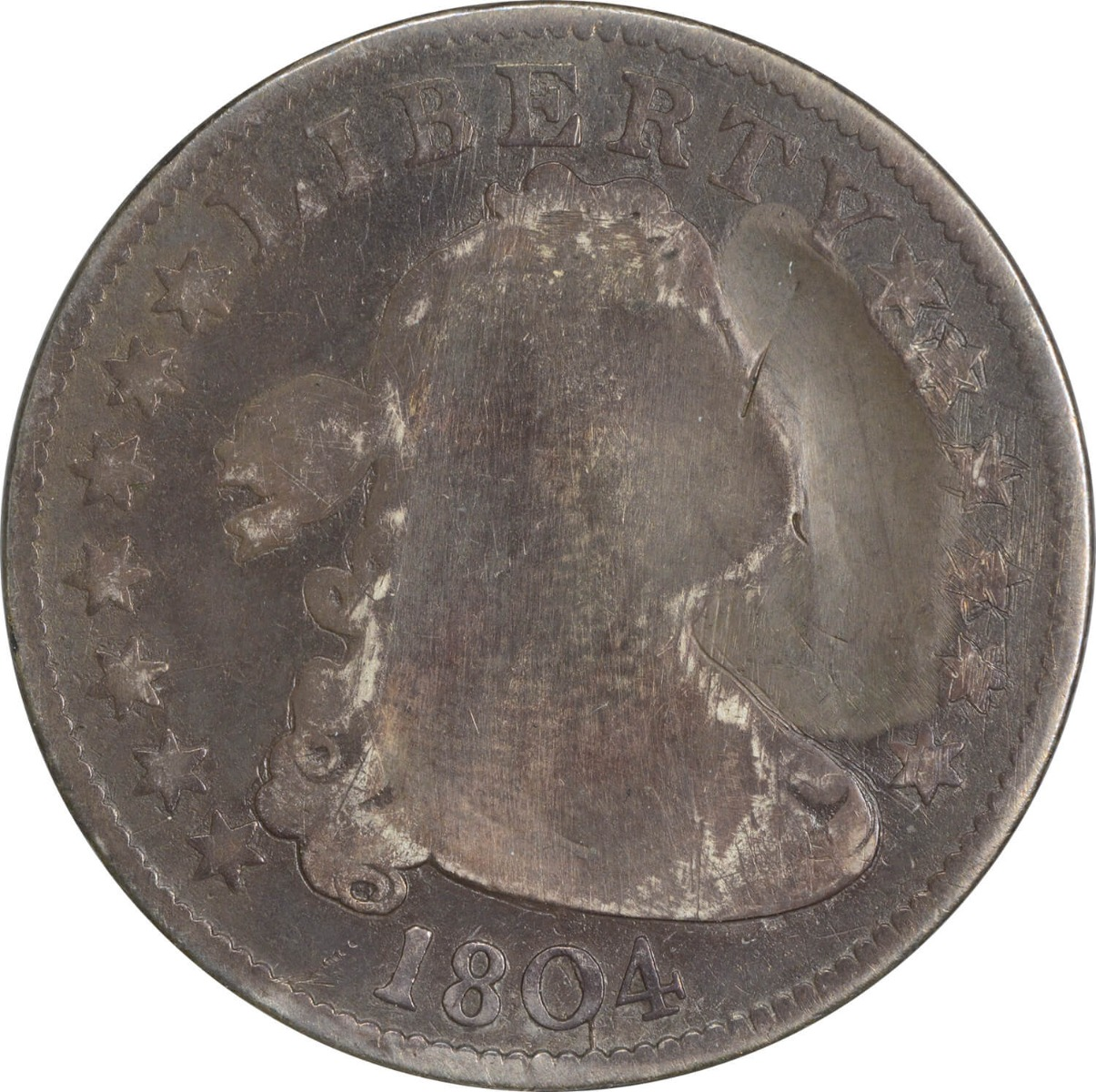 1804 Bust Quarter, F/G (Repaired), Uncertified