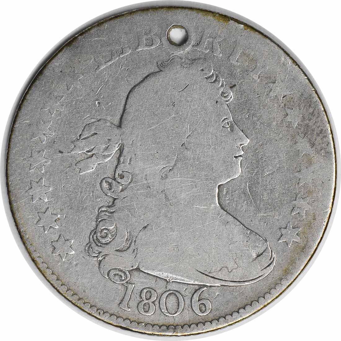 1806 Bust Silver Quarter AG (Hole) Uncertified