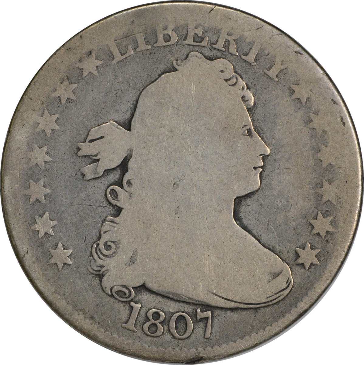1807 Bust Quarter, G (Graffiti Reverse), Uncertified