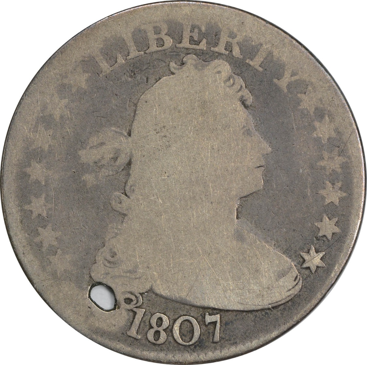 1807 Bust Quarter, G (Hole), Uncertified