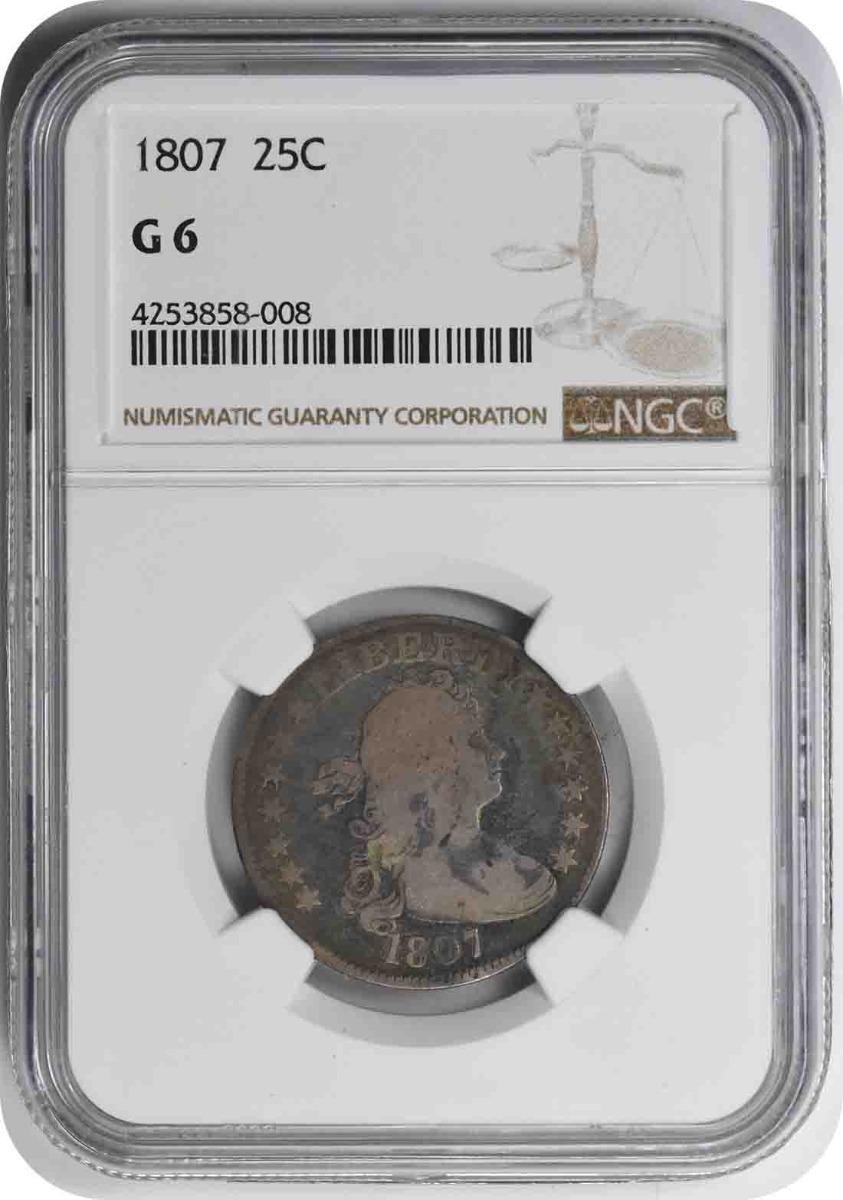 1807 Bust Silver Quarter G06 NGC