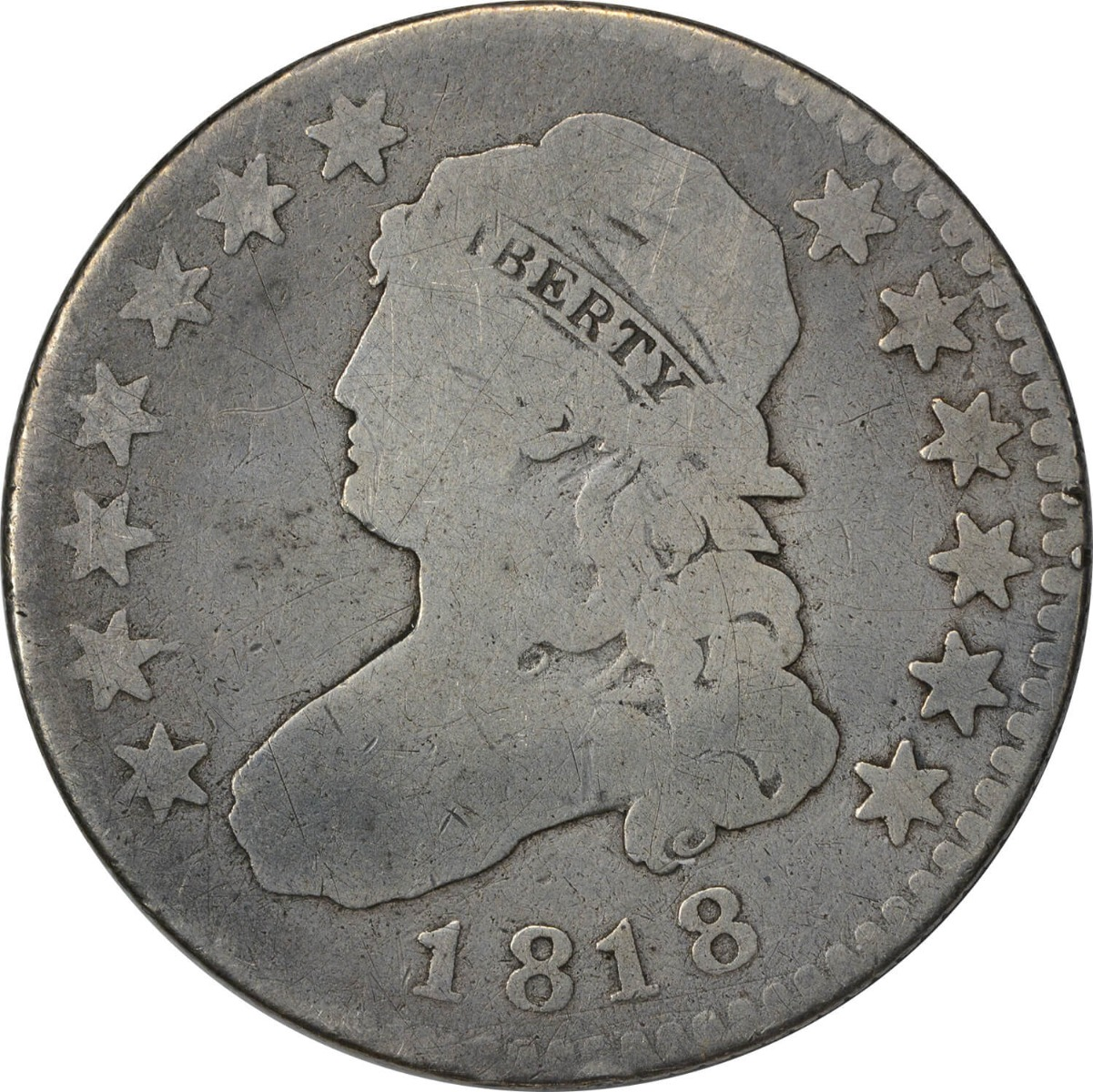 1818 Bust Quarter, VG, Uncertified
