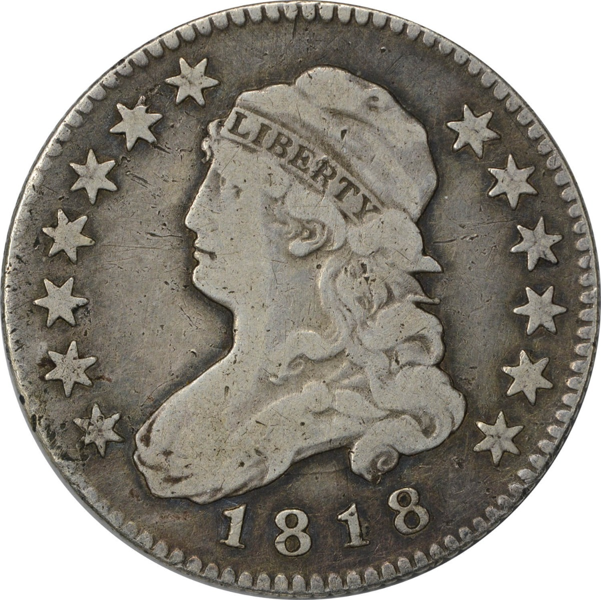 1818/5 Bust Quarter, F, Uncertified