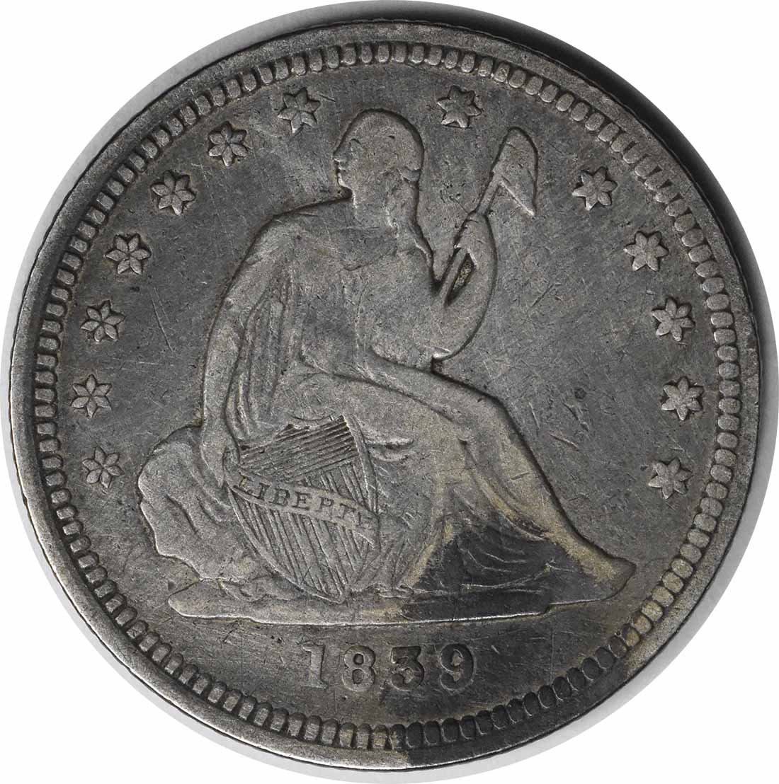 1839 Liberty Seated Quarter No Drapery VF Uncertified