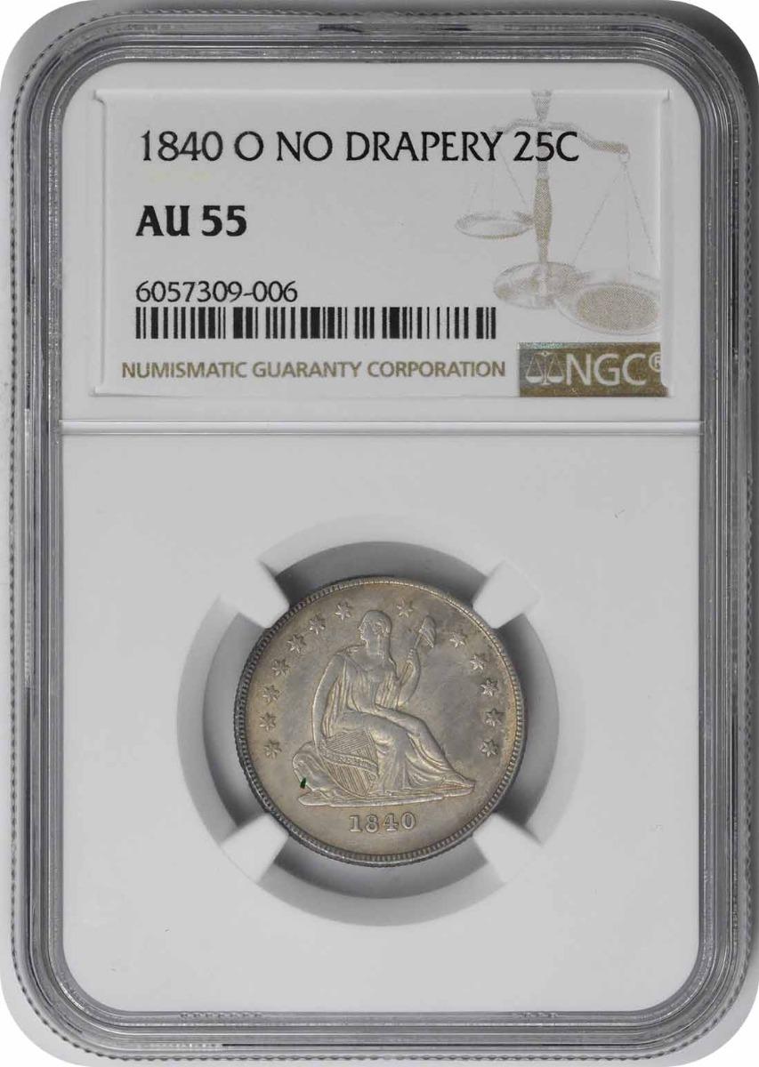 1840-O Liberty Seated Silver Quarter No Drapery AU55 NGC