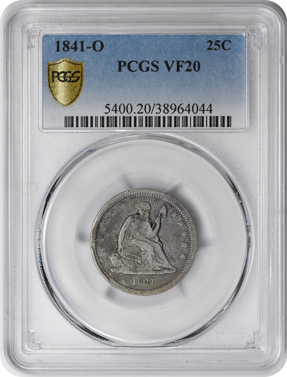 1841-O Liberty Seated Silver Quarter VF20 PCGS
