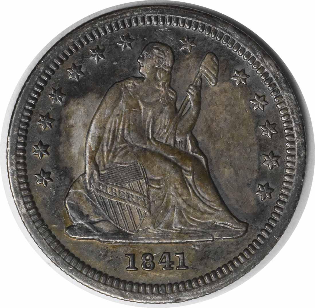 1841-O Liberty Seated Silver Quarter AU58 Uncertified #944