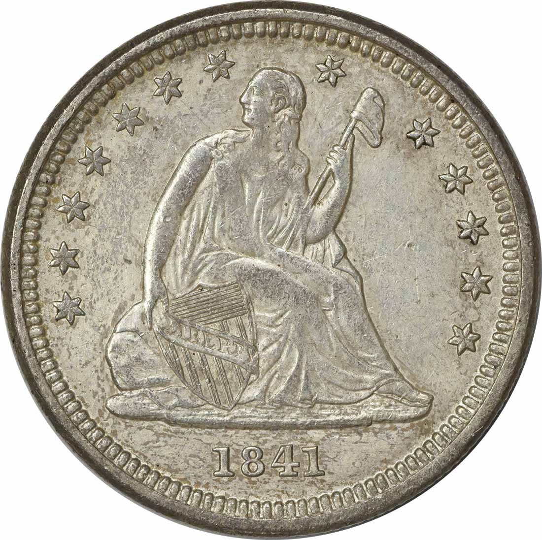 1841-O Liberty Seated Silver Quarter AU Uncertified
