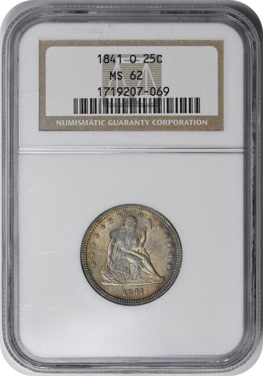 1841-O Liberty Seated Silver Quarter MS62 NGC
