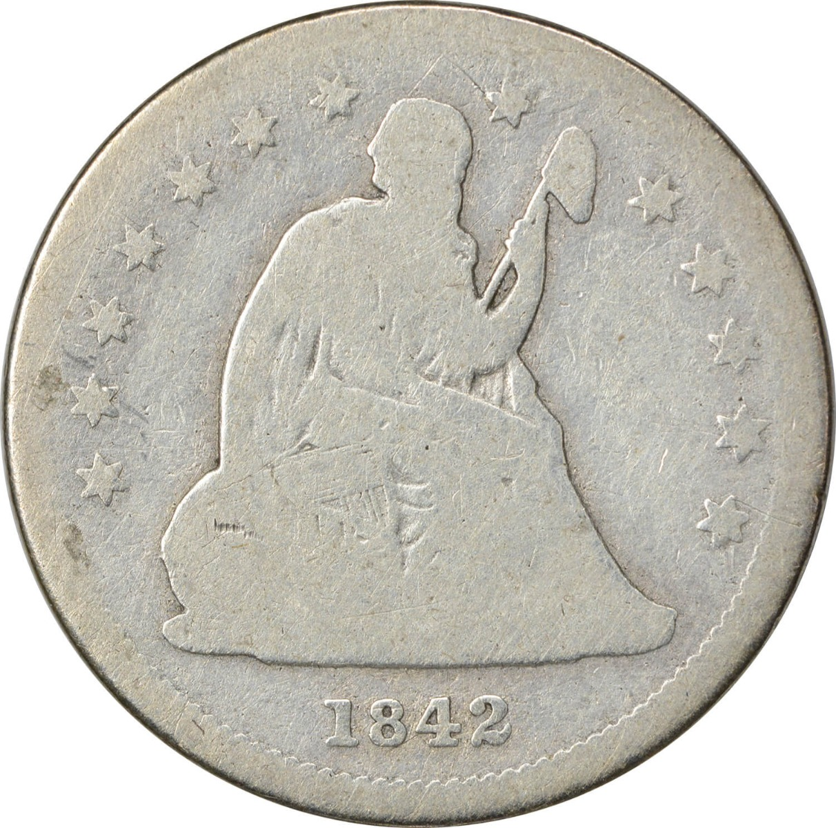 1842-O Liberty Seated Quarter, Small Date, G, Uncertified
