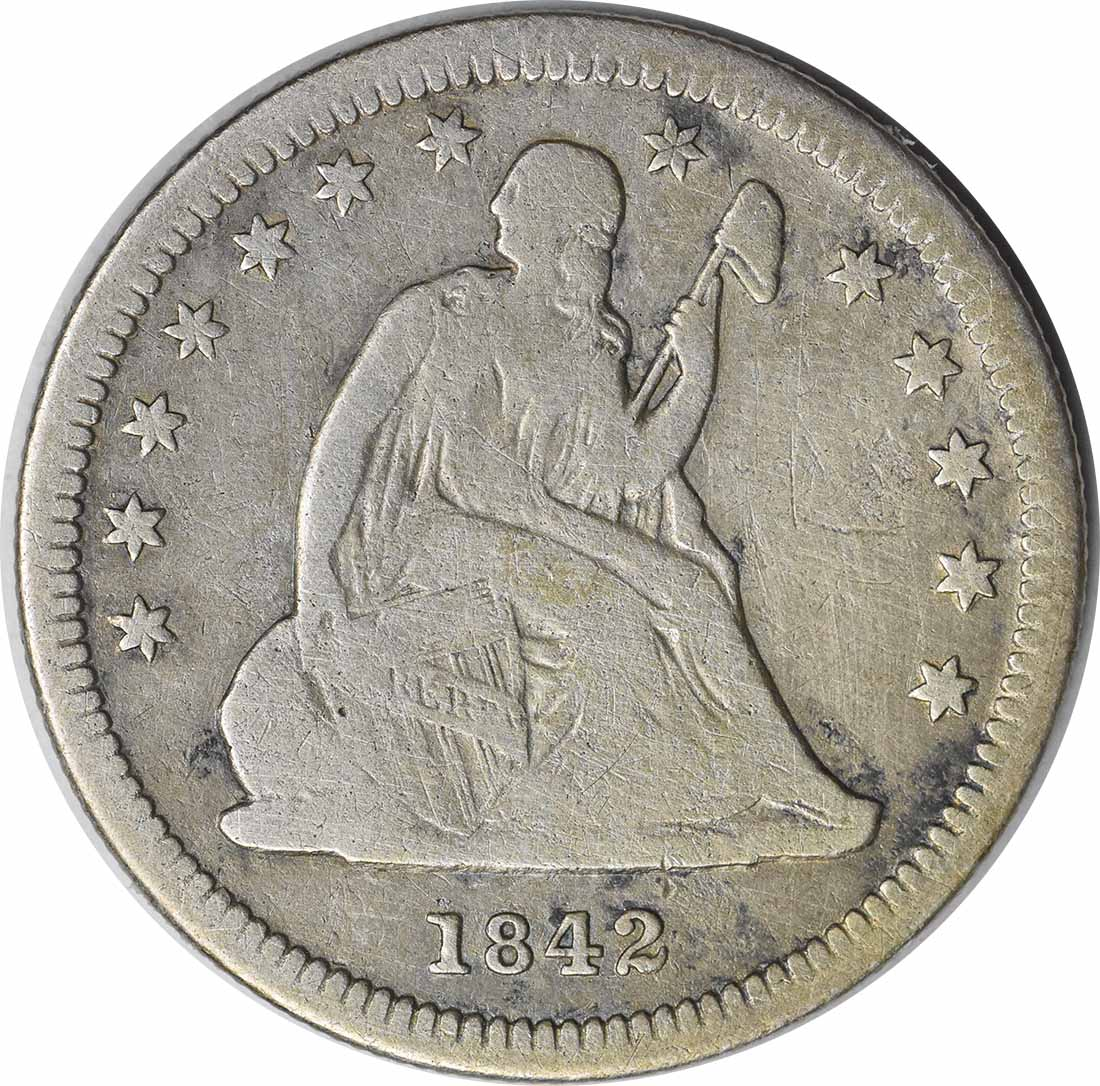 1842-O Liberty Seated Quarter Small Date VG Uncertified