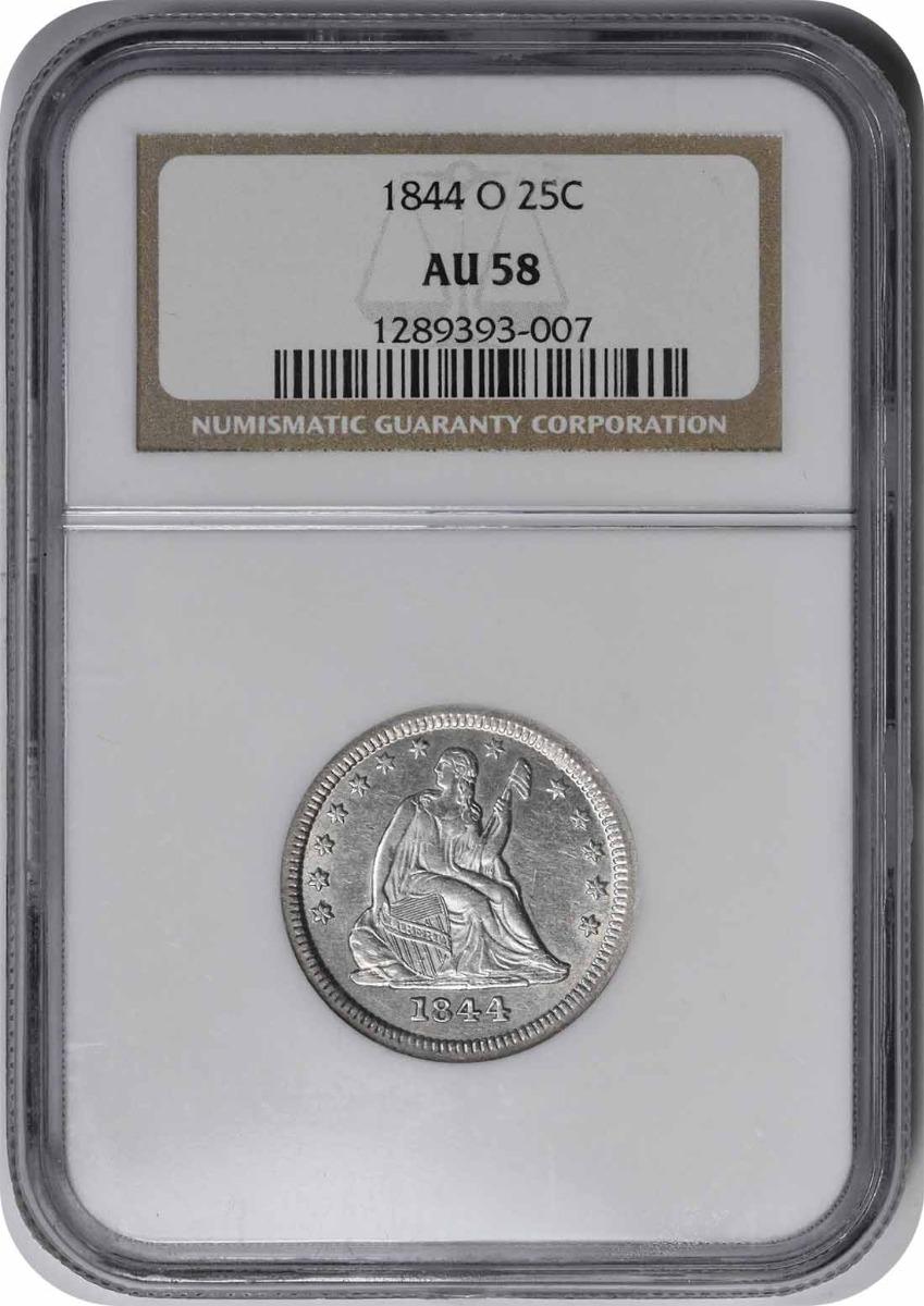 1844-O Liberty Seated Silver Quarter AU58 NGC