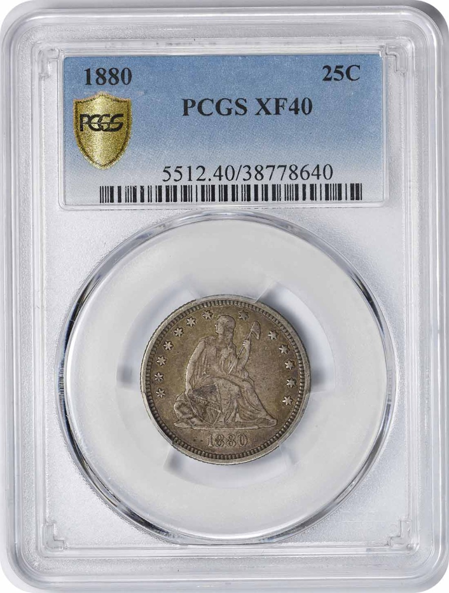 1880 Liberty Seated Silver Quarter EF40 PCGS