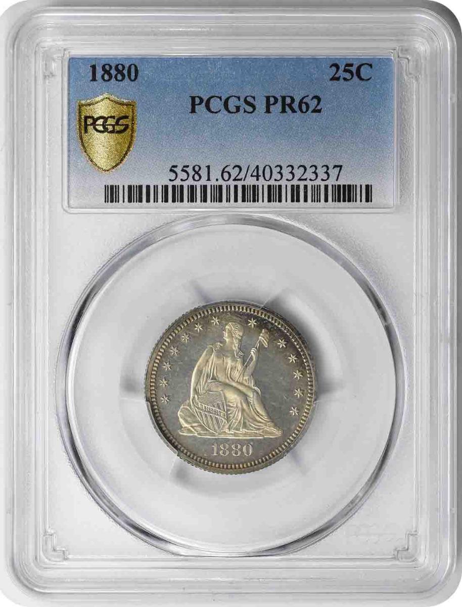 1880 Liberty Seated Silver Quarter PR62 PCGS