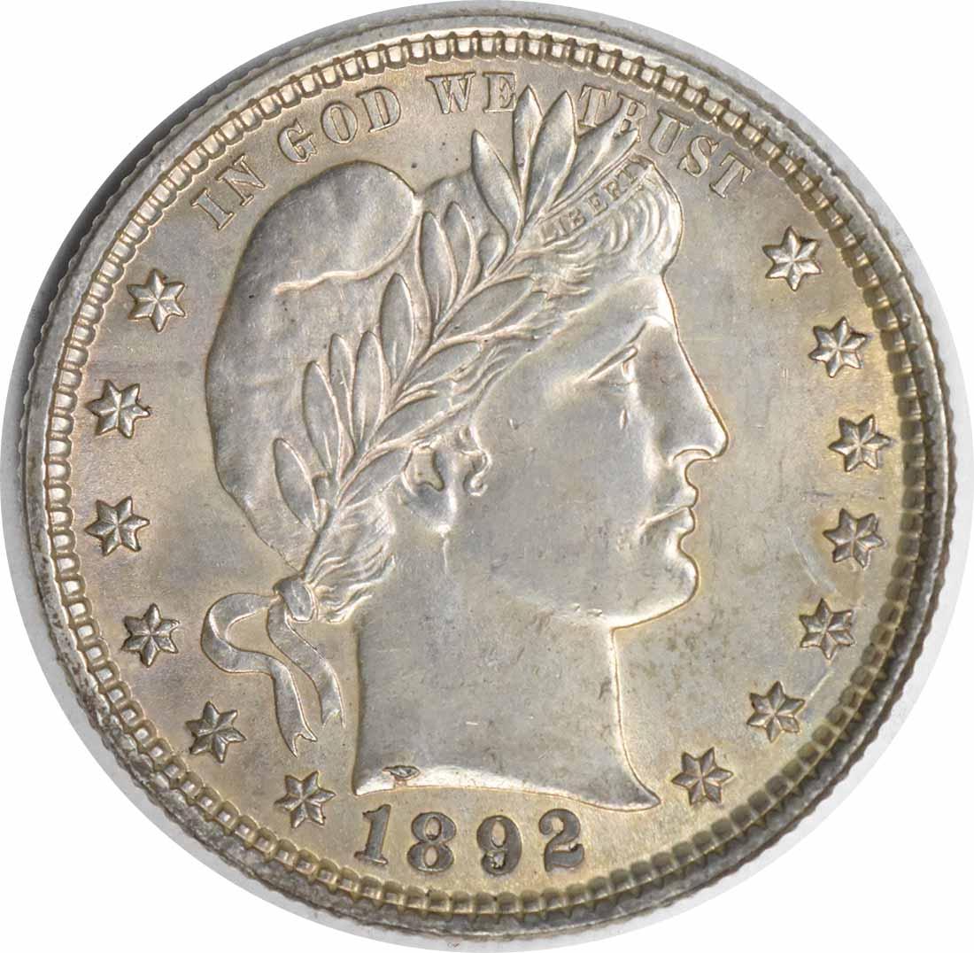 1892 Barber Silver Quarter MS63 Uncertified #221