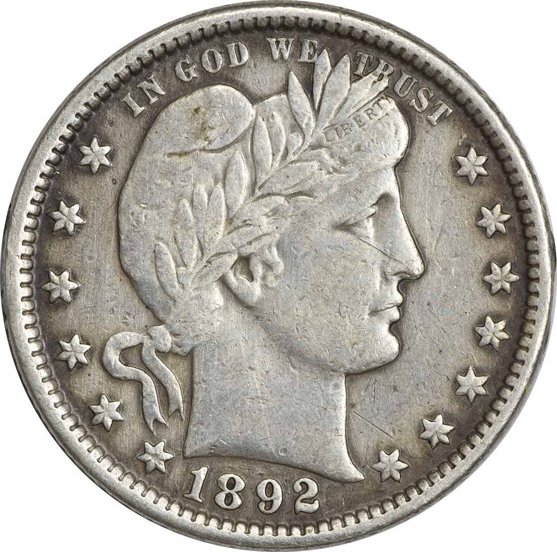 1892 Barber Silver Quarter EF Uncertified