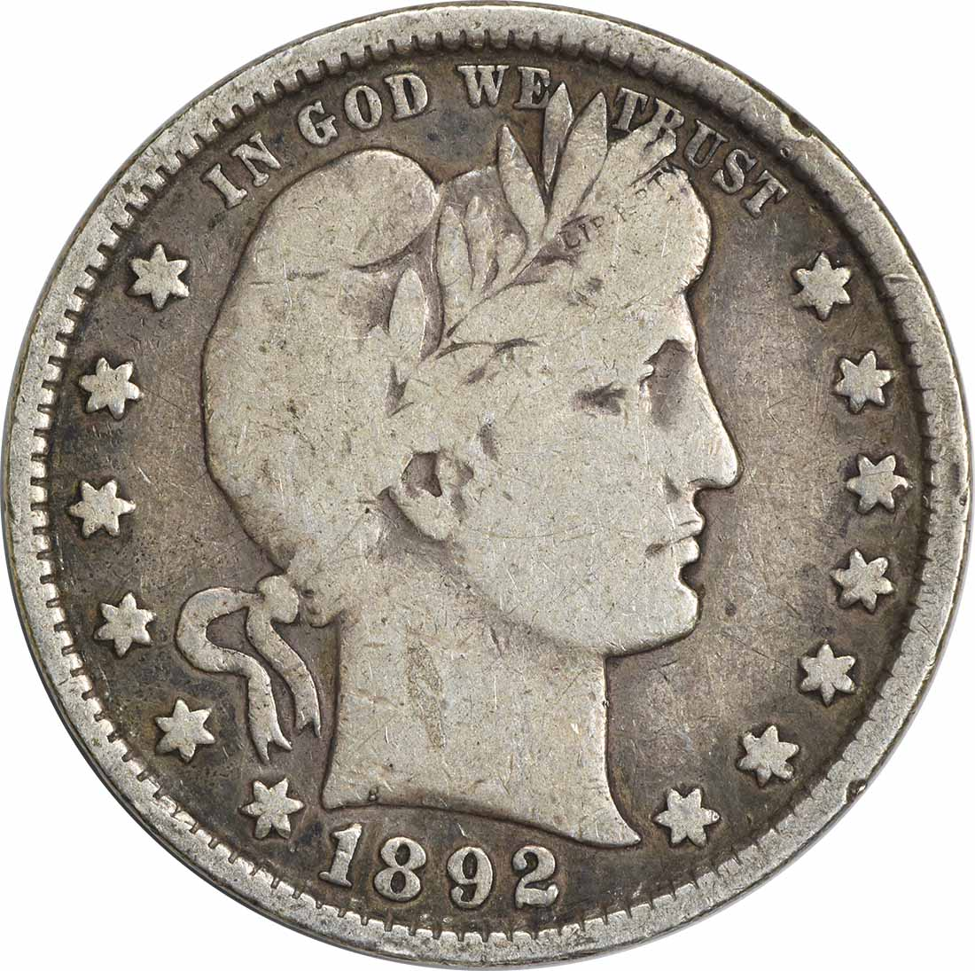 1892 Barber Silver Quarter F Uncertified