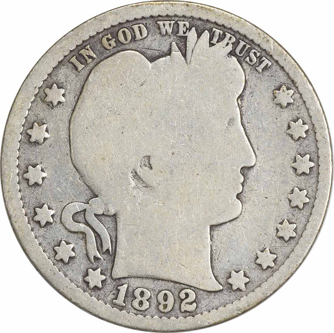 1892 Barber Silver Quarter G Uncertified