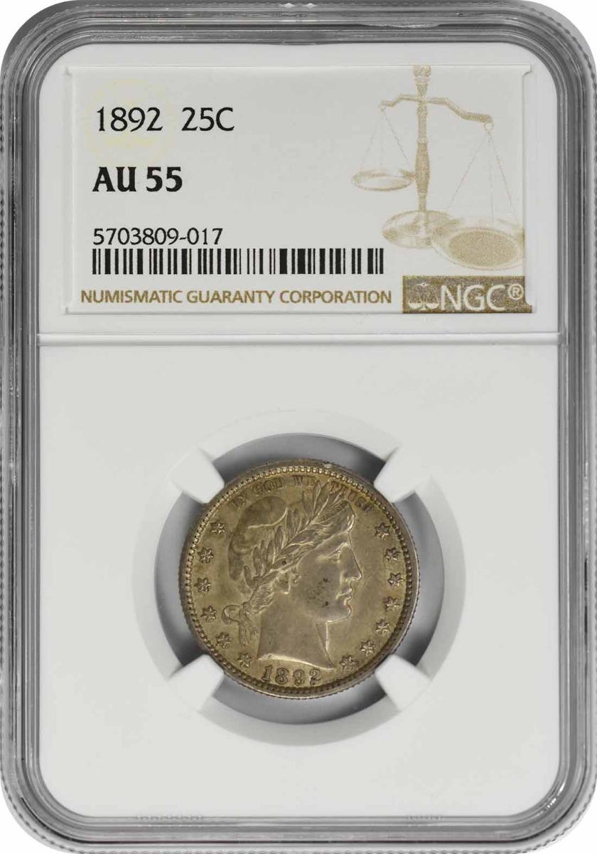 1892 Barber Silver Quarter AU55 NGC