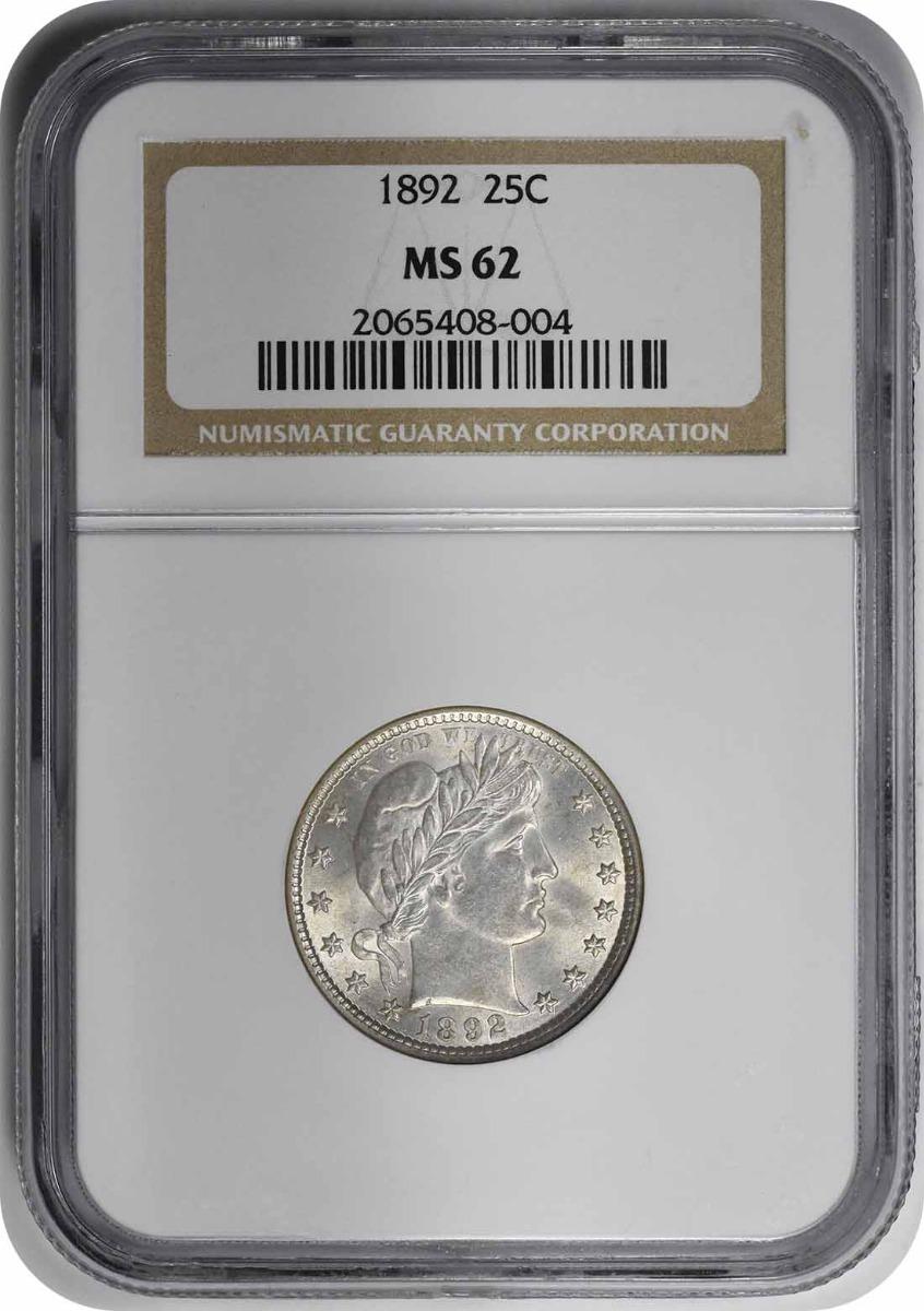 1892 Barber Silver Quarter MS62 NGC
