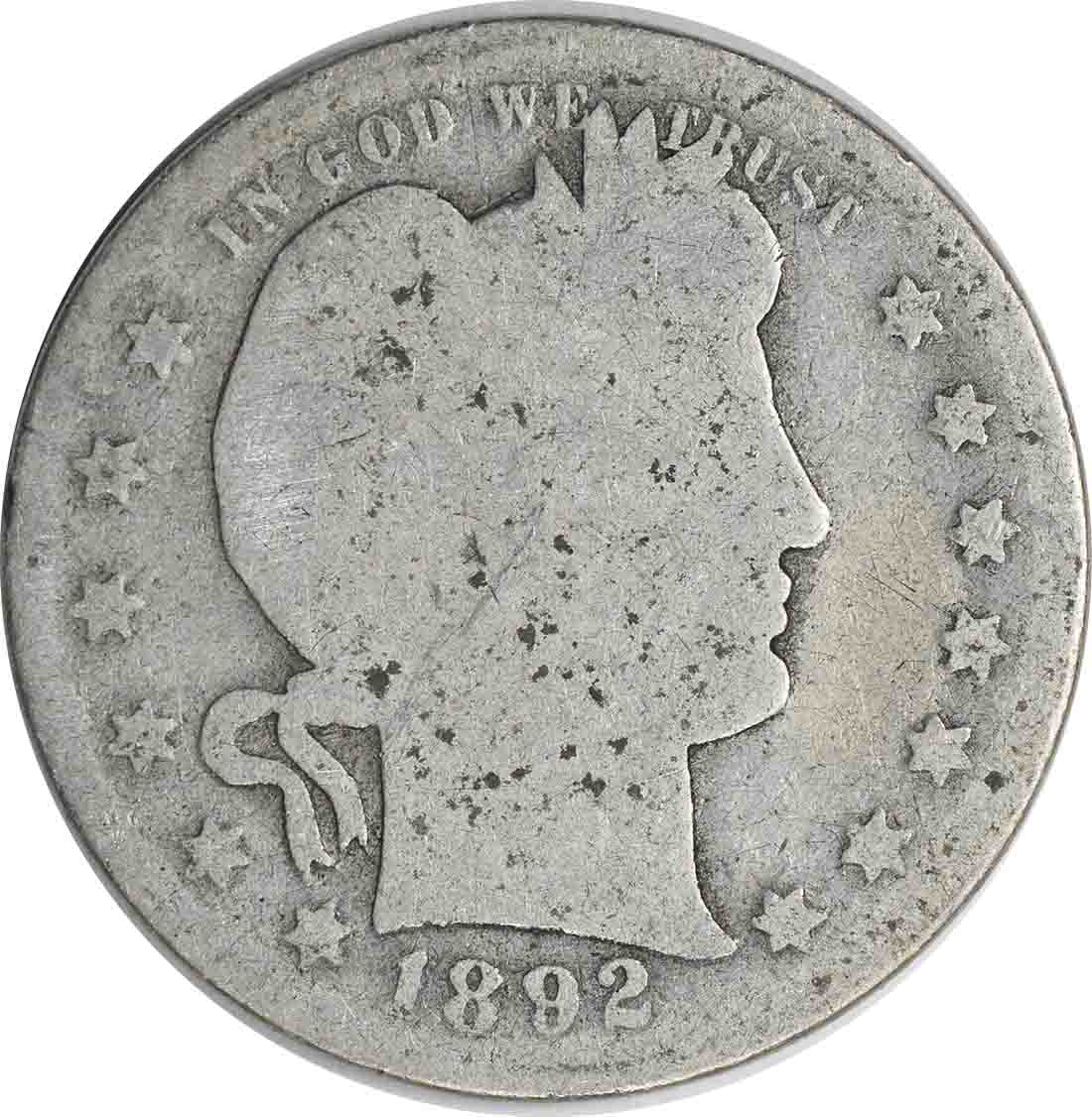 1892-O Barber Silver Quarter AG Uncertified