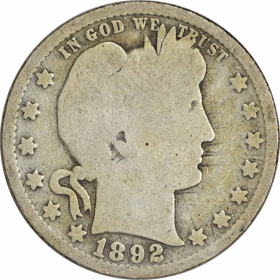 1892-O Barber Silver Quarter G Uncertified
