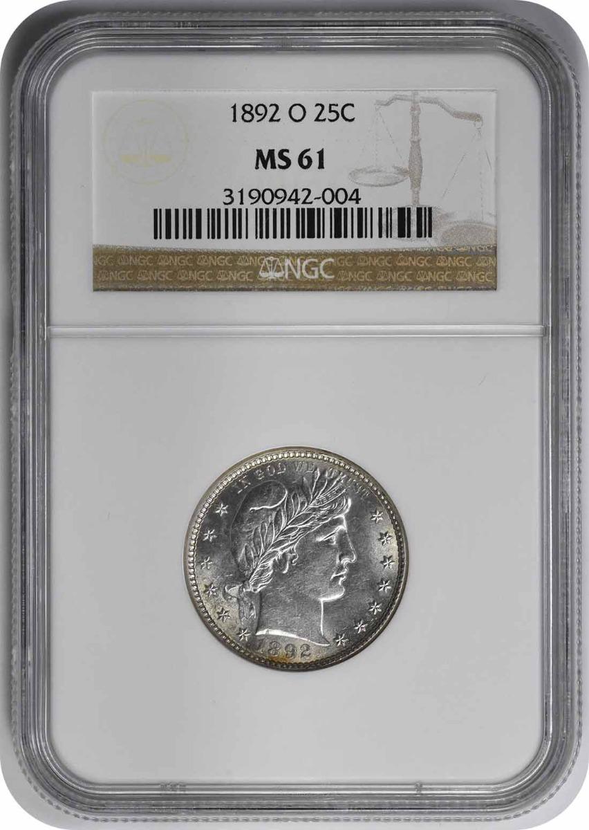 1892-O Barber Silver Quarter MS61 NGC