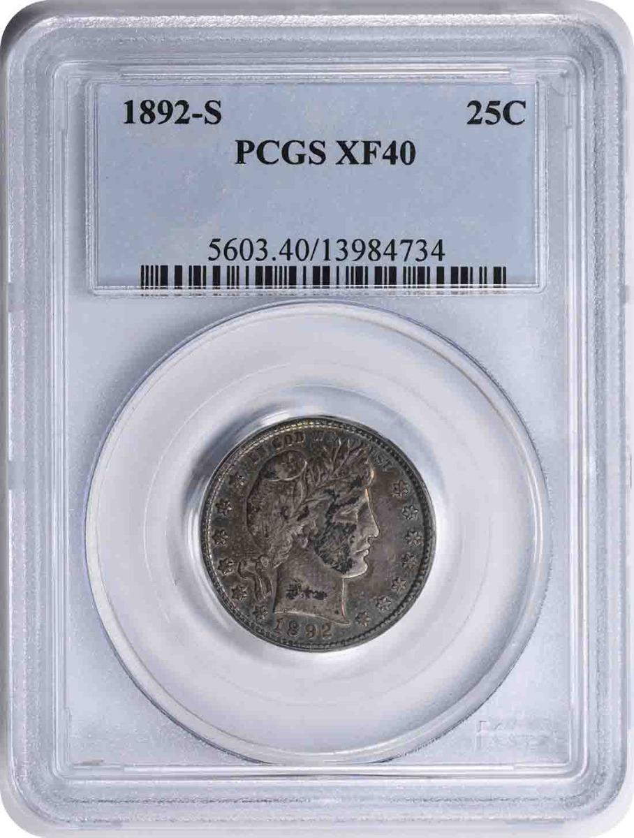 1892-S Barber Silver Quarter EF40 PCGS