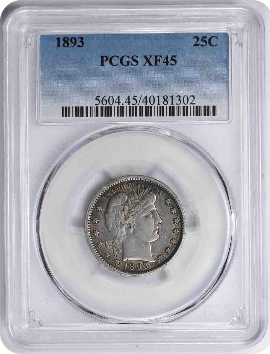 1893 Barber Silver Quarter EF45 PCGS