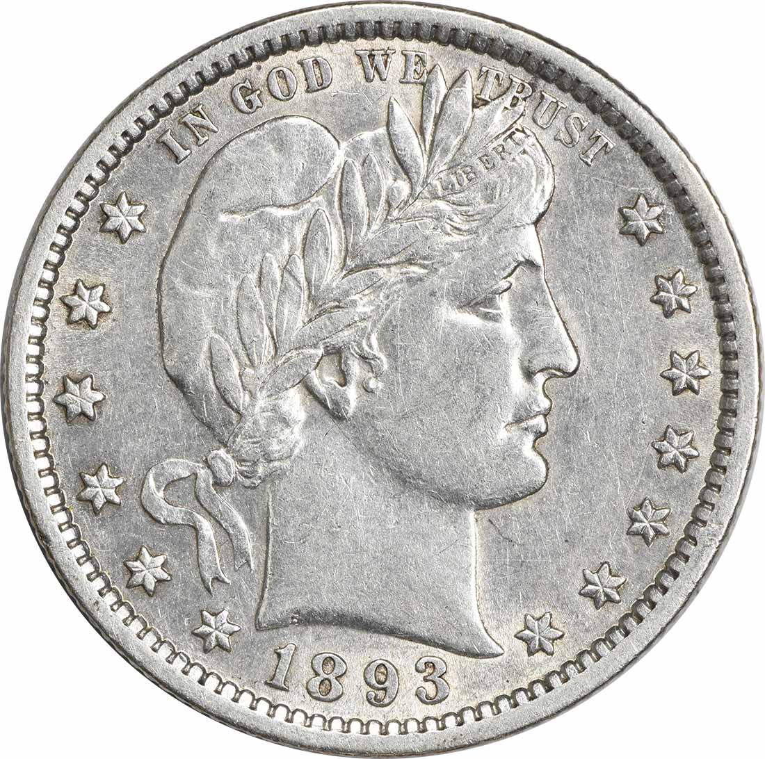 1893 Barber Silver Quarter Choice AU Uncertified
