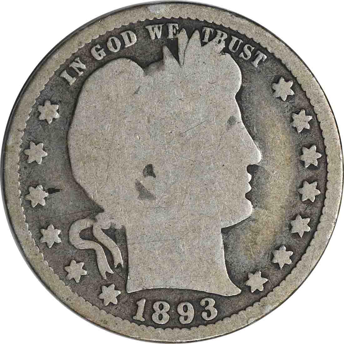 1893 Barber Silver Quarter G Uncertified
