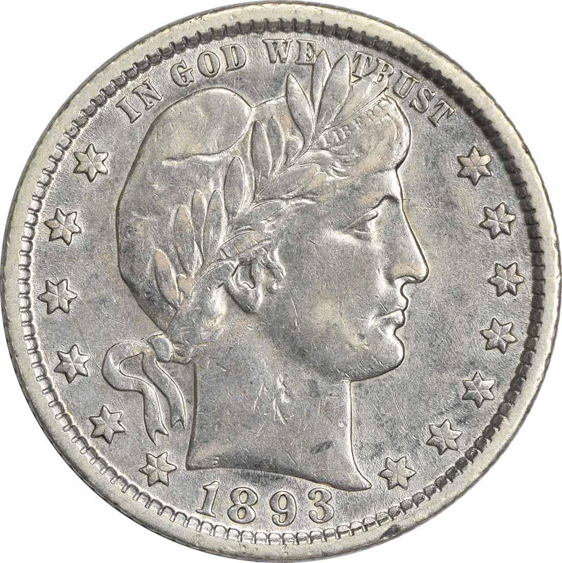 1893-O Barber Silver Quarter AU Uncertified
