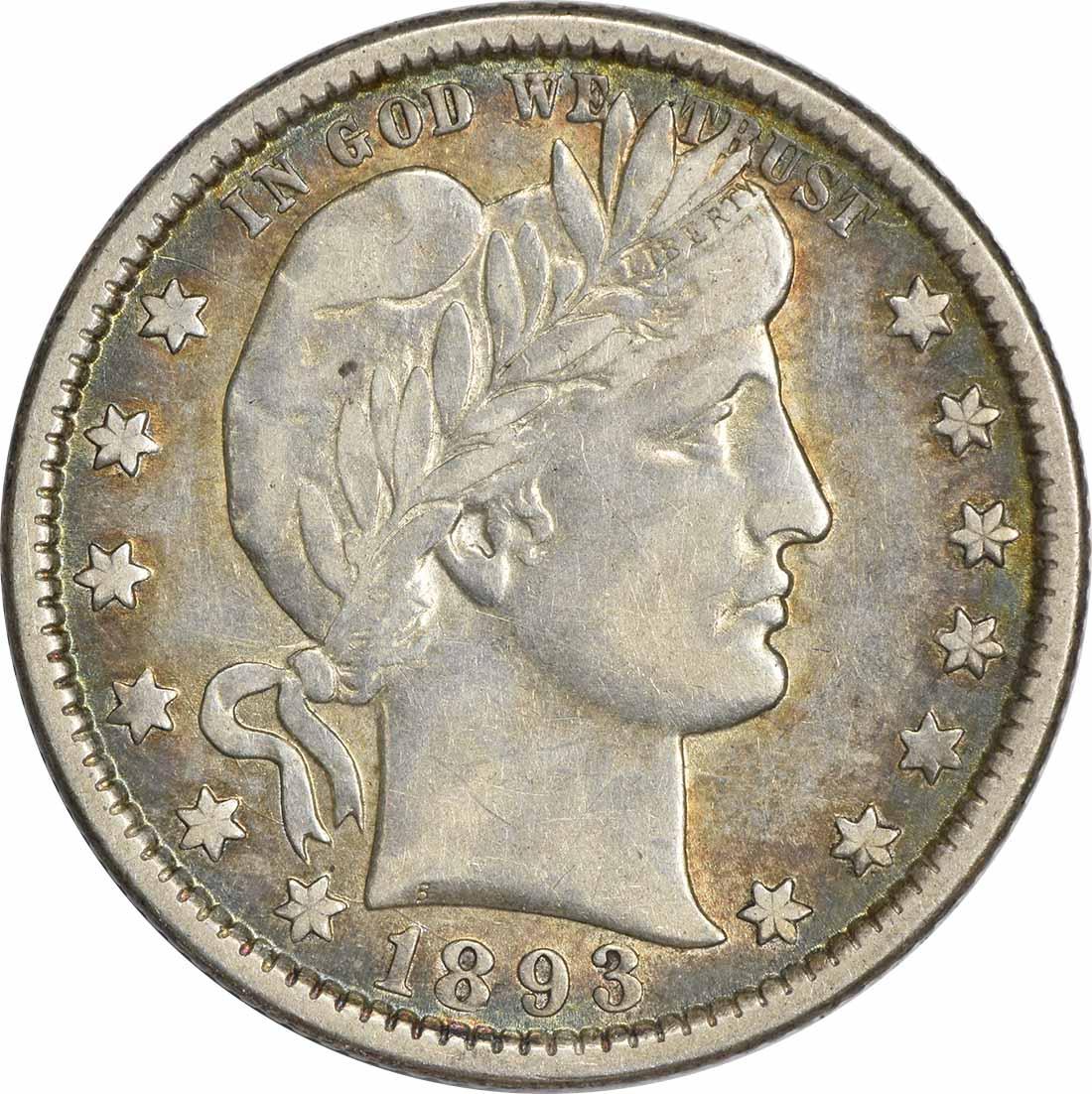 1893-O Barber Silver Quarter EF Uncertified