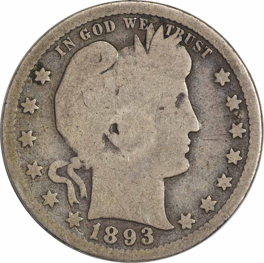 1893-S Barber Silver Quarter G Uncertified