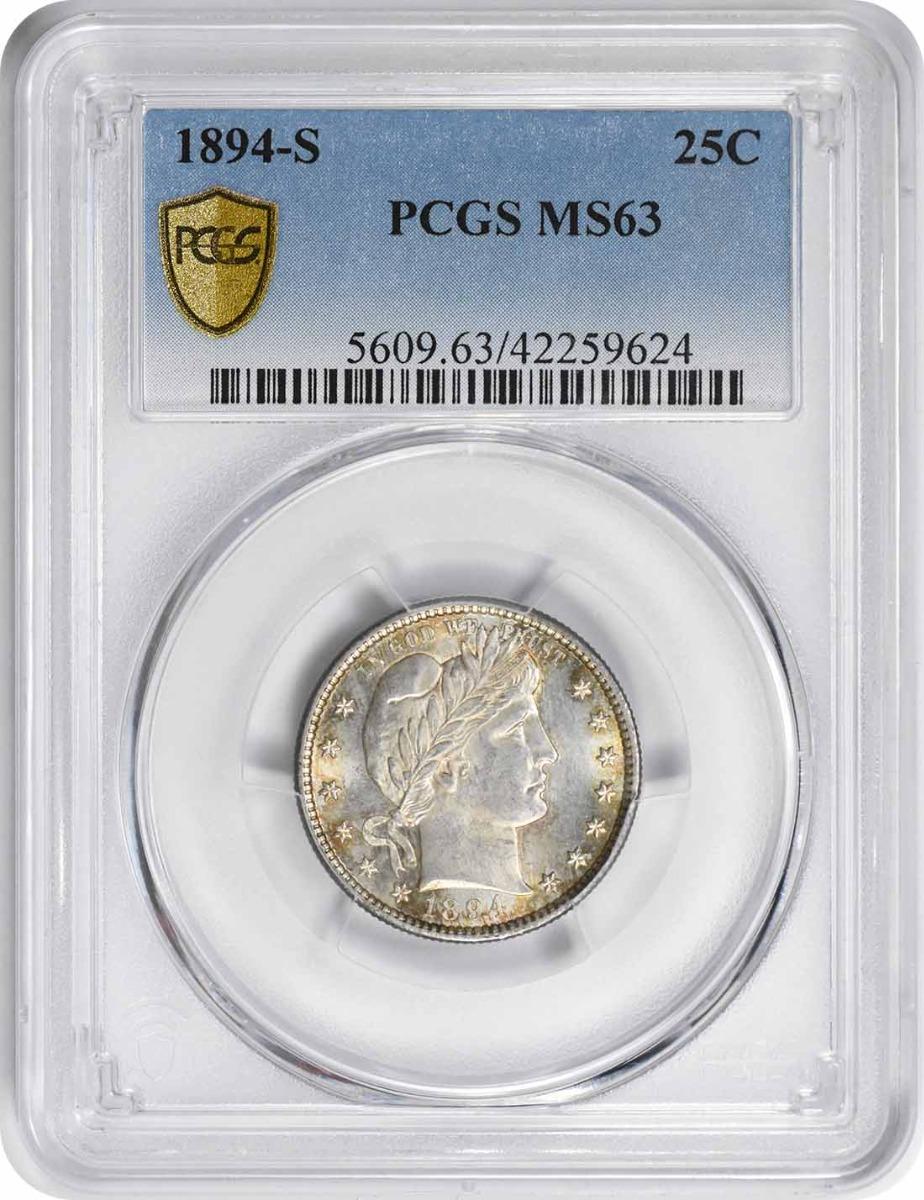 1894-S Barber Silver Quarter MS63 PCGS