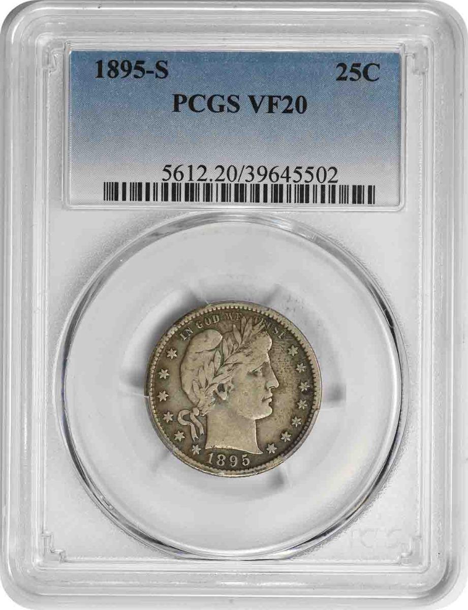 1895-S Barber Silver Quarter VF20 PCGS