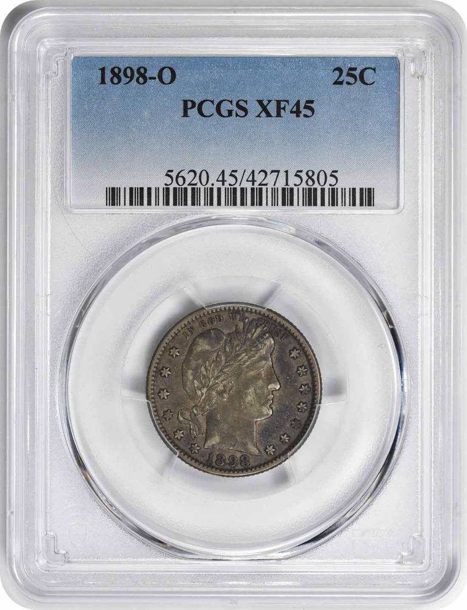 1898-O Barber Silver Quarter EF45 PCGS