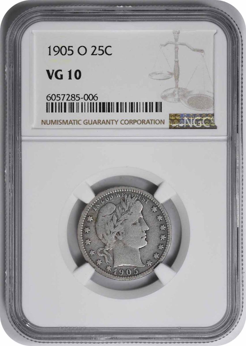 1905-O Barber Silver Quarter VG10 NGC