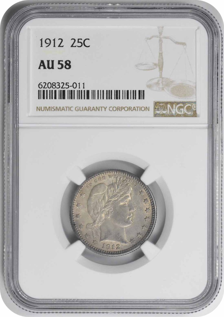 1912 Barber Silver Quarter AU58 NGC