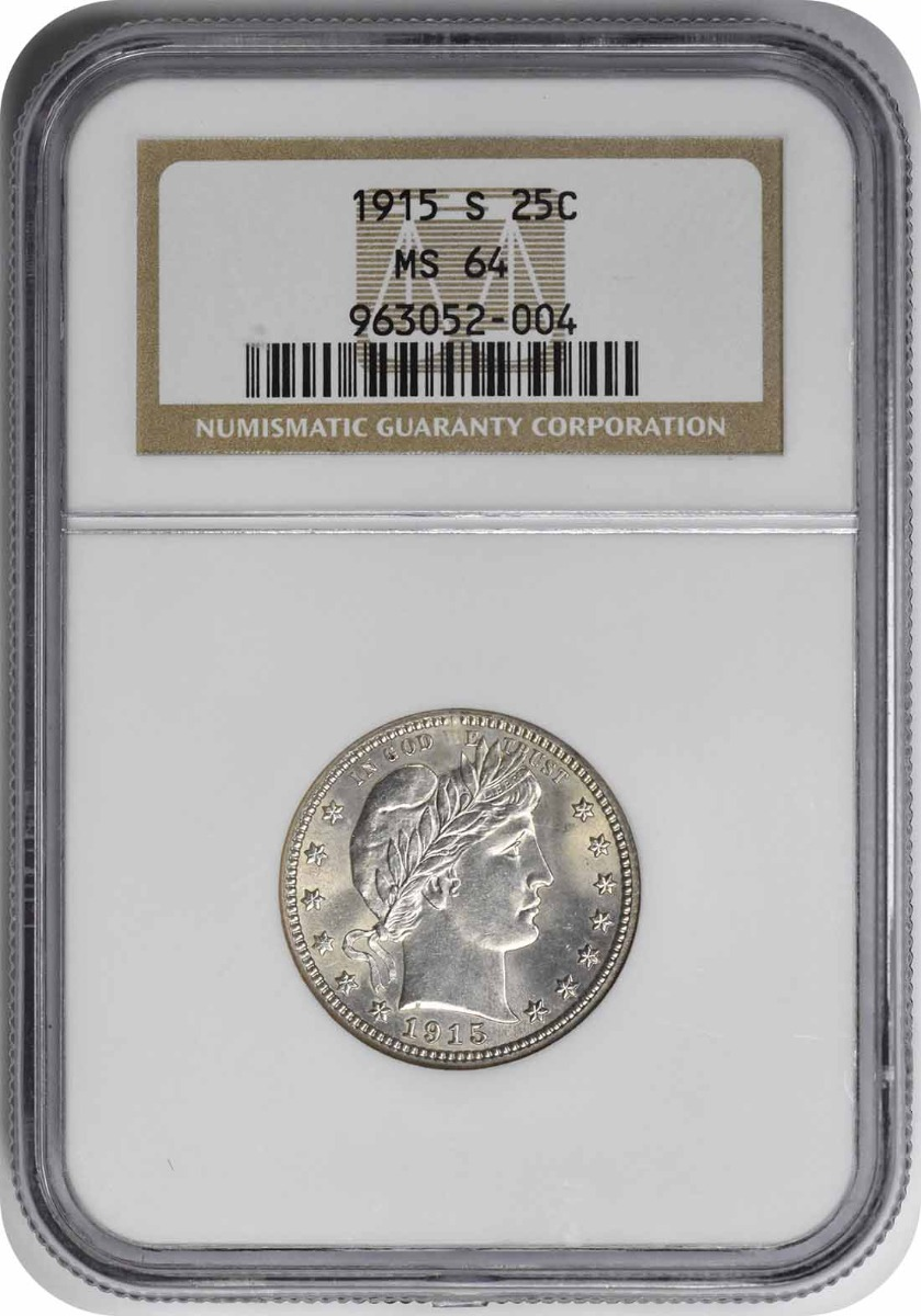 1915-S Barber Silver Quarter MS64 NGC