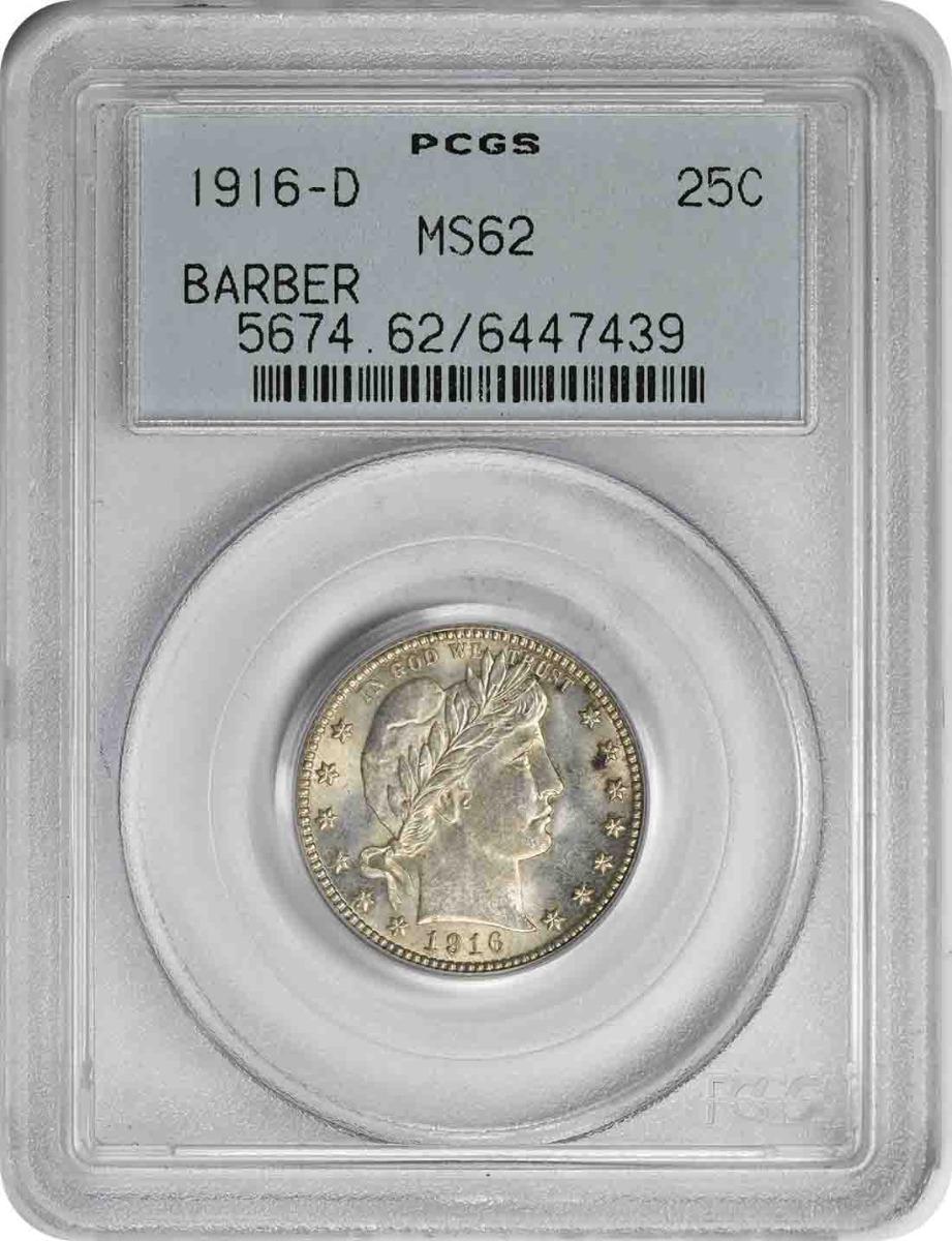 1916-D Barber Silver Quarter MS62 PCGS