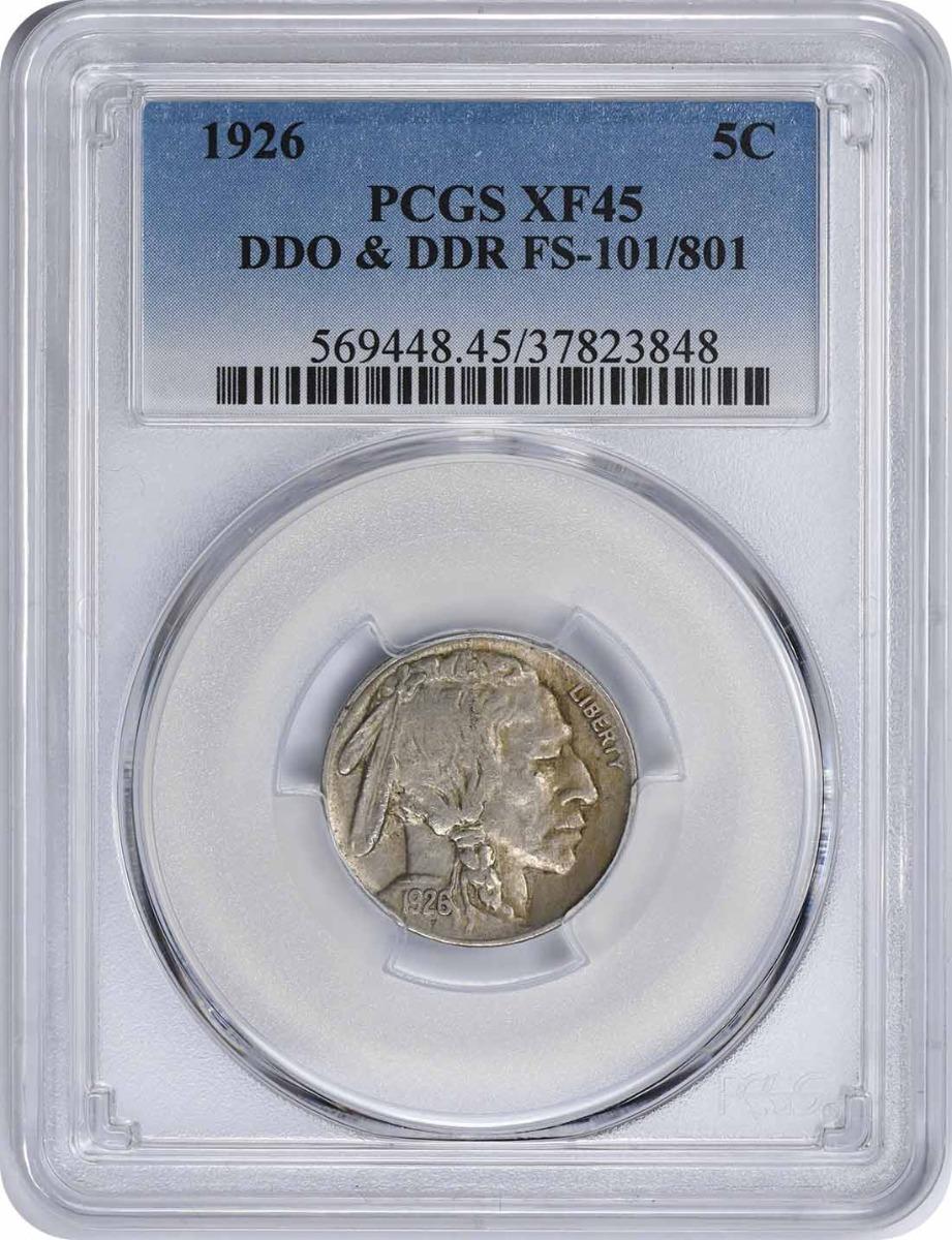 1926 Buffalo Nickel, DDO & DDR FS-101/801, XF45, PCGS